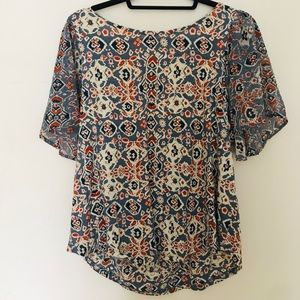 Blue and Orange Patterned Shirt